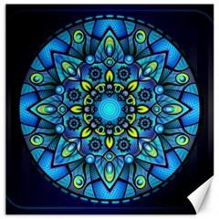 Mandala Blue Abstract Circle Canvas 16  X 16