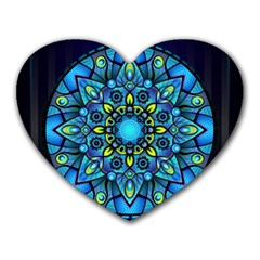 Mandala Blue Abstract Circle Heart Mousepads