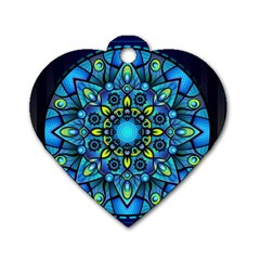 Mandala Blue Abstract Circle Dog Tag Heart (one Side)