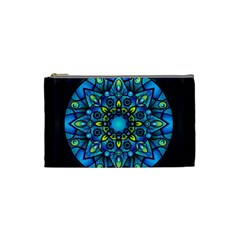 Mandala Blue Abstract Circle Cosmetic Bag (small)