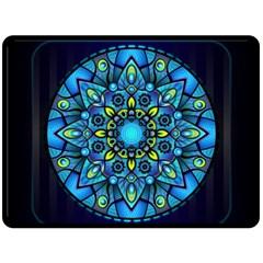 Mandala Blue Abstract Circle Fleece Blanket (large)