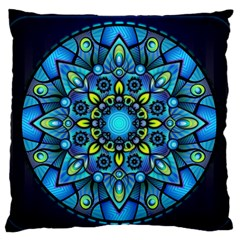 Mandala Blue Abstract Circle Standard Flano Cushion Case (one Side)