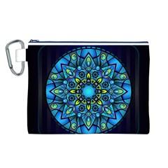 Mandala Blue Abstract Circle Canvas Cosmetic Bag (l)