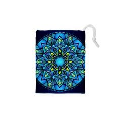 Mandala Blue Abstract Circle Drawstring Pouches (xs)