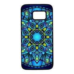 Mandala Blue Abstract Circle Samsung Galaxy S7 Black Seamless Case