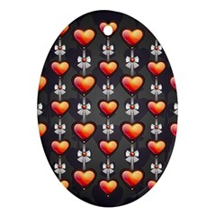 Love Heart Background Ornament (oval)
