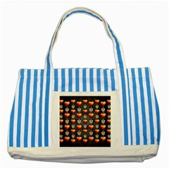 Love Heart Background Striped Blue Tote Bag