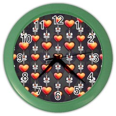 Love Heart Background Color Wall Clocks