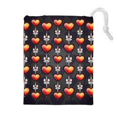 Love Heart Background Drawstring Pouches (extra Large)