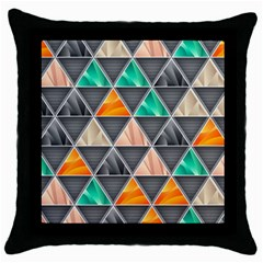 Abstract Geometric Triangle Shape Throw Pillow Case (black)