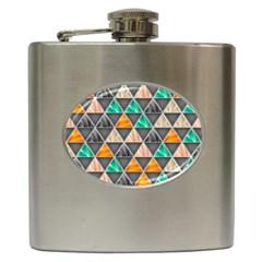Abstract Geometric Triangle Shape Hip Flask (6 Oz)