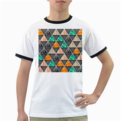 Abstract Geometric Triangle Shape Ringer T Shirts