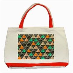 Abstract Geometric Triangle Shape Classic Tote Bag (red)