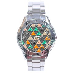 Abstract Geometric Triangle Shape Stainless Steel Analogue Watch