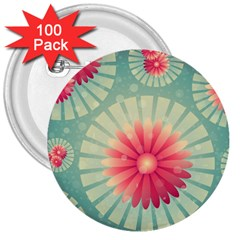 Background Floral Flower Texture 3  Buttons (100 Pack)