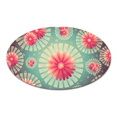 Background Floral Flower Texture Oval Magnet