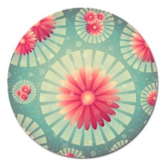 Background Floral Flower Texture Magnet 5  (round)