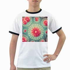 Background Floral Flower Texture Ringer T Shirts