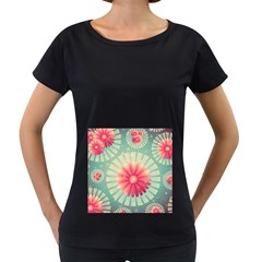 Background Floral Flower Texture Women s Loose Fit T Shirt (black)