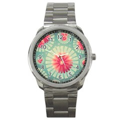 Background Floral Flower Texture Sport Metal Watch