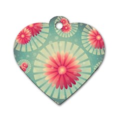 Background Floral Flower Texture Dog Tag Heart (two Sides)