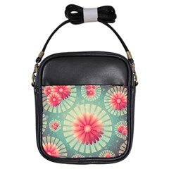 Background Floral Flower Texture Girls Sling Bags