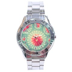 Background Floral Flower Texture Stainless Steel Analogue Watch