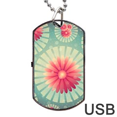 Background Floral Flower Texture Dog Tag Usb Flash (one Side)
