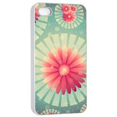 Background Floral Flower Texture Apple Iphone 4/4s Seamless Case (white)