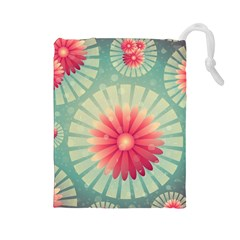 Background Floral Flower Texture Drawstring Pouches (large)