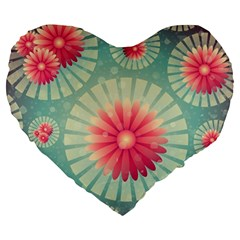 Background Floral Flower Texture Large 19  Premium Flano Heart Shape Cushions