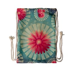 Background Floral Flower Texture Drawstring Bag (small)