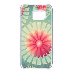 Background Floral Flower Texture Samsung Galaxy S7 White Seamless Case