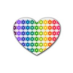 Background Colorful Geometric Rubber Coaster (heart)