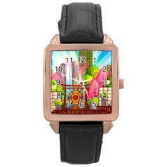 Zen Garden Japanese Nature Garden Rose Gold Leather Watch