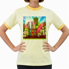 Zen Garden Japanese Nature Garden Women s Fitted Ringer T Shirts