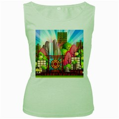 Zen Garden Japanese Nature Garden Women s Green Tank Top