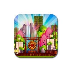 Zen Garden Japanese Nature Garden Rubber Coaster (square)