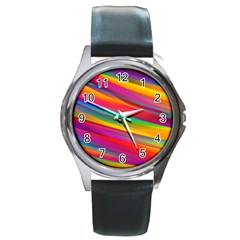 Colorful Background Round Metal Watch