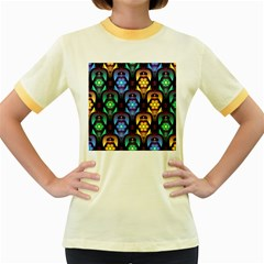 Pattern Background Bright Blue Women s Fitted Ringer T Shirts