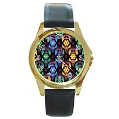 Pattern Background Bright Blue Round Gold Metal Watch