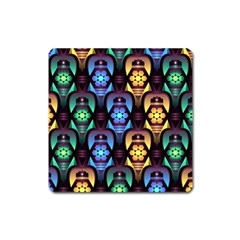 Pattern Background Bright Blue Square Magnet