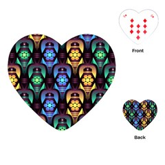 Pattern Background Bright Blue Playing Cards (heart)