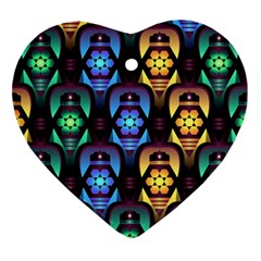 Pattern Background Bright Blue Heart Ornament (two Sides)