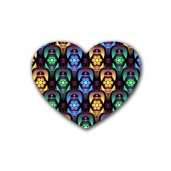 Pattern Background Bright Blue Heart Coaster (4 Pack)