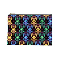 Pattern Background Bright Blue Cosmetic Bag (large)