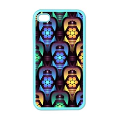 Pattern Background Bright Blue Apple Iphone 4 Case (color)
