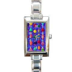 Colorful Background Stones Jewels Rectangle Italian Charm Watch