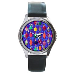 Colorful Background Stones Jewels Round Metal Watch