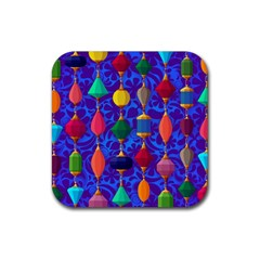 Colorful Background Stones Jewels Rubber Coaster (square)